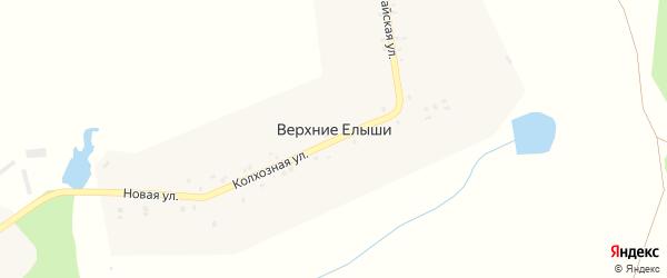Колхозная улица на карте деревни Верхние Елыши с номерами домов