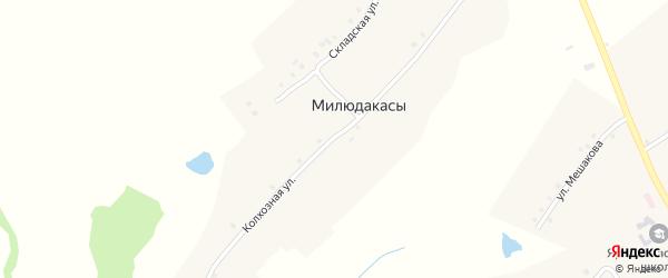Колхозная улица на карте деревни Милюдакасы с номерами домов