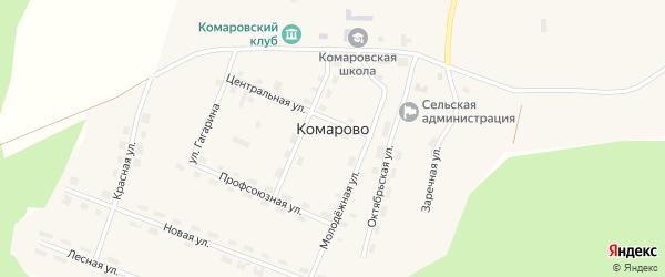 Красная улица на карте поселка Комарово с номерами домов