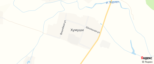 Карта деревни Хумуши в Чувашии с улицами и номерами домов