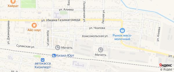 Комсомольская улица на карте Кизилюрта с номерами домов