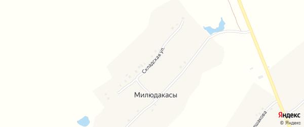 Складская улица на карте деревни Милюдакасы с номерами домов