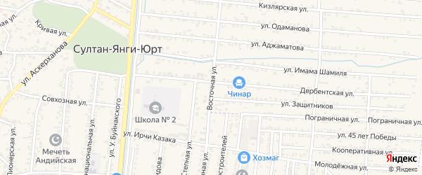Восточная улица на карте села Султанянгиюрта с номерами домов