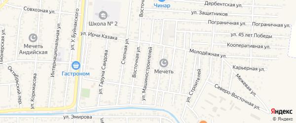 Улица Машиностроителей на карте поселка Ханара с номерами домов