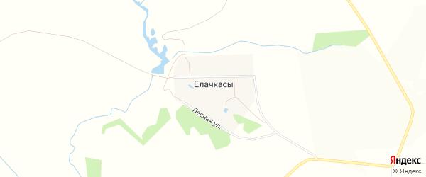 Карта деревни Елачкасы в Чувашии с улицами и номерами домов