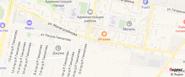 Улица Малагусейнова на карте Кизилюрта с номерами домов