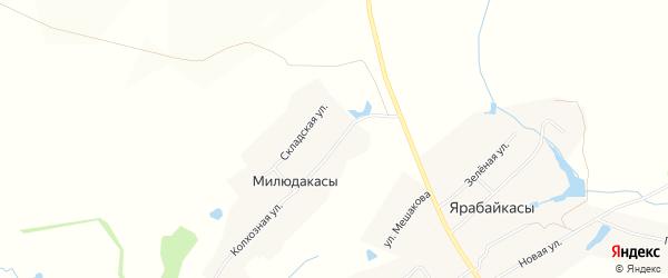 Карта деревни Милюдакасы в Чувашии с улицами и номерами домов