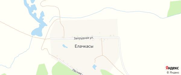 Запрудная улица на карте деревни Елачкасы с номерами домов