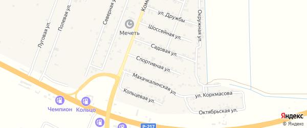 Спортивная улица на карте села Нижнего Чирюрта с номерами домов