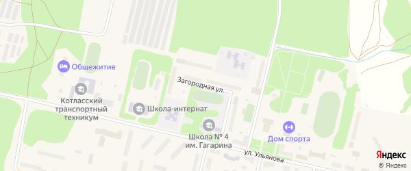 Загородная улица на карте Вычегодского поселка с номерами домов