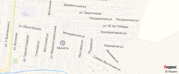Молодежная улица на карте Кизилюрта с номерами домов