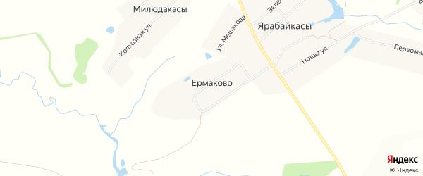 Карта деревни Ермаково в Чувашии с улицами и номерами домов