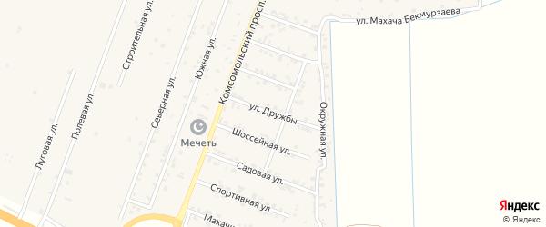 Улица Дружбы на карте села Султанянгиюрта с номерами домов