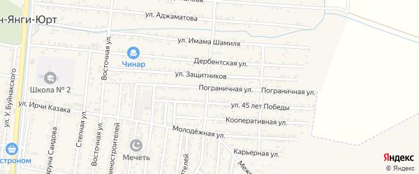 Пограничная улица на карте Кизилюрта с номерами домов