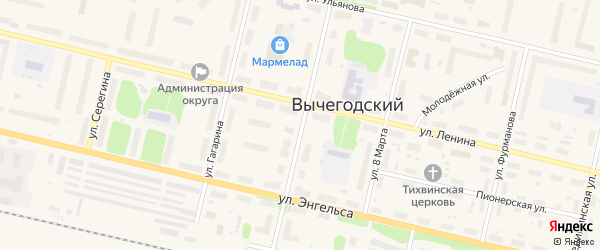 Театральная улица на карте Вычегодского поселка с номерами домов
