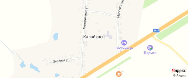 Зеленая улица на карте деревни Калайкас с номерами домов
