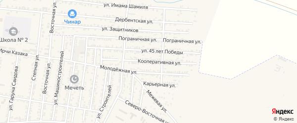 Кооперативная улица на карте Кизилюрта с номерами домов