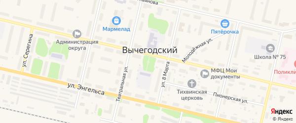 Переулок Ульянова на карте Вычегодского поселка с номерами домов