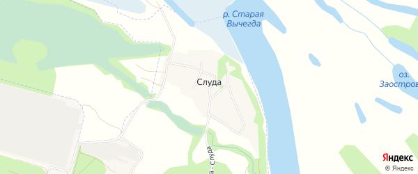 Карта деревни Слуды города Котласа в Архангельской области с улицами и номерами домов