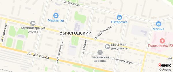 Улица 8 Марта на карте Вычегодского поселка с номерами домов