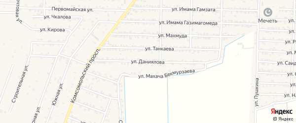 Улица Даниялова на карте Комсомольского села с номерами домов