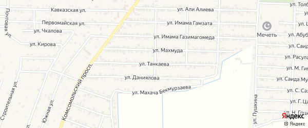 Улица Танкаева на карте Комсомольского села с номерами домов