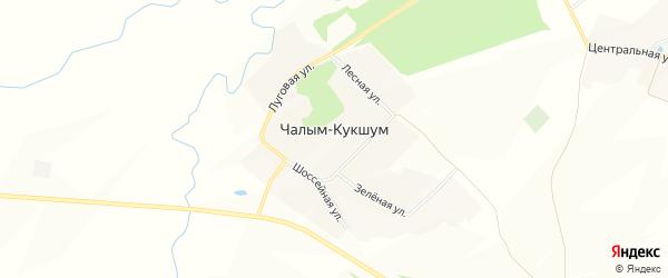Карта деревни Чалыма-Кукшума в Чувашии с улицами и номерами домов