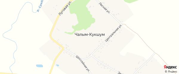 Шоссейная улица на карте деревни Чалыма-Кукшума с номерами домов