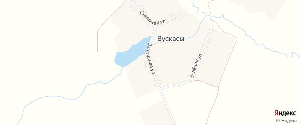 Запрудная улица на карте деревни Вускасы с номерами домов