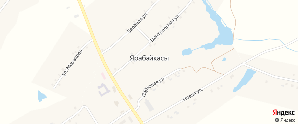 Центральная улица на карте деревни Ярабайкас с номерами домов