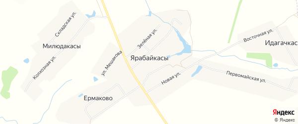 Карта деревни Ярабайкас в Чувашии с улицами и номерами домов