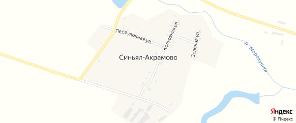 Зеленая улица на карте деревни Синьял-Акрамово с номерами домов