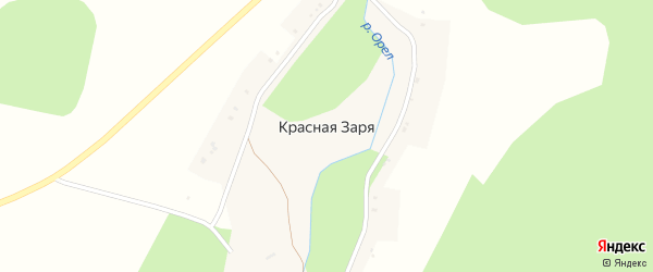Улица Мира на карте поселка Красной Зари с номерами домов