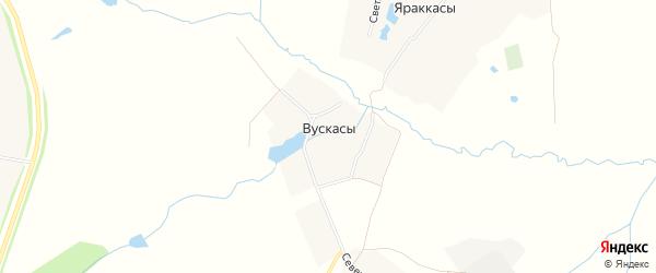 Карта деревни Вускасы в Чувашии с улицами и номерами домов