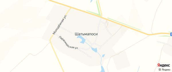 Карта деревни Шатьмапосей в Чувашии с улицами и номерами домов