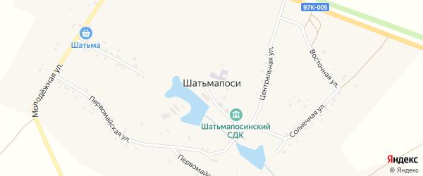 Солнечная улица на карте деревни Шатьмапосей с номерами домов
