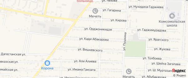 Улица Кади Абакарова на карте Комсомольского села с номерами домов