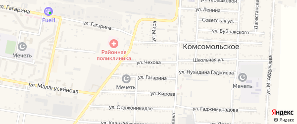 Улица Чехова на карте Комсомольского села с номерами домов