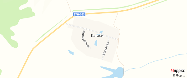 Карта деревни Кагаси в Чувашии с улицами и номерами домов