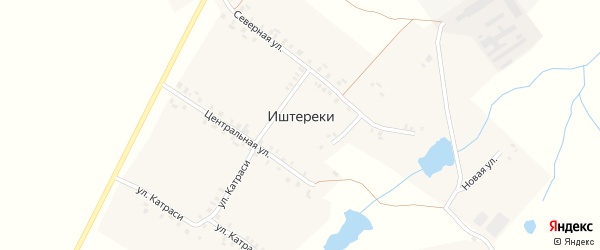 Улица Катраси на карте деревни Иштереки с номерами домов