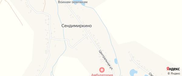 Центральная улица на карте деревни Сендимиркино с номерами домов