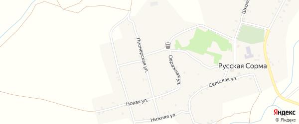 Овражная улица на карте села Русской Сормы с номерами домов
