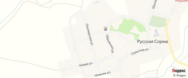 Сельская улица на карте села Русской Сормы с номерами домов