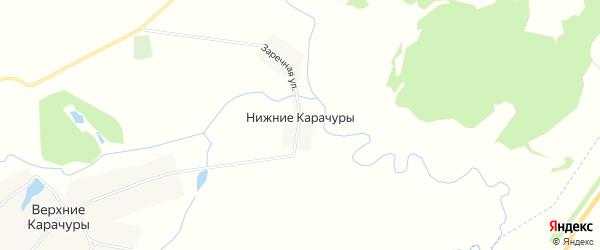 Карта деревни Нижние Карачуры в Чувашии с улицами и номерами домов
