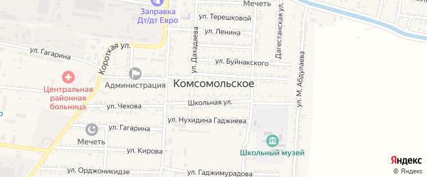 Улица Нажмудина Гоцинского на карте Комсомольского села с номерами домов