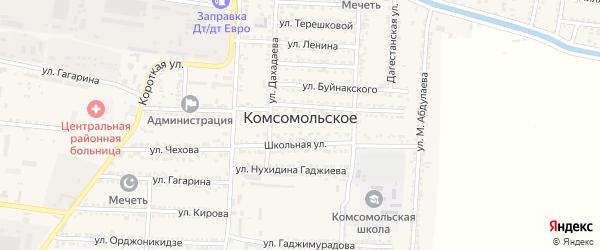 Улица Магомеда Гимбатова на карте Комсомольского села с номерами домов