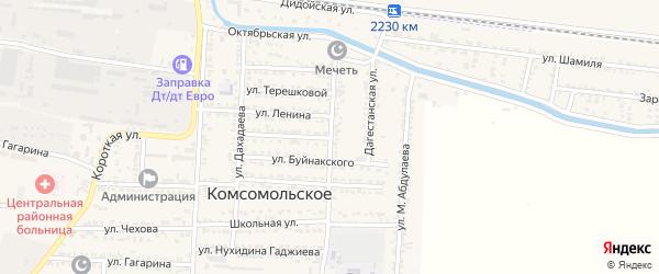 Кавказская улица на карте Комсомольского села с номерами домов