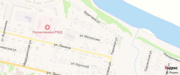 Улица Матросова на карте Вычегодского поселка с номерами домов