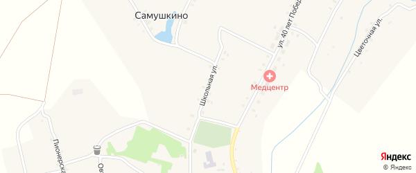 Школьная улица на карте деревни Самушкино с номерами домов