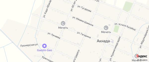 Улица Гагарина на карте села Акнады с номерами домов